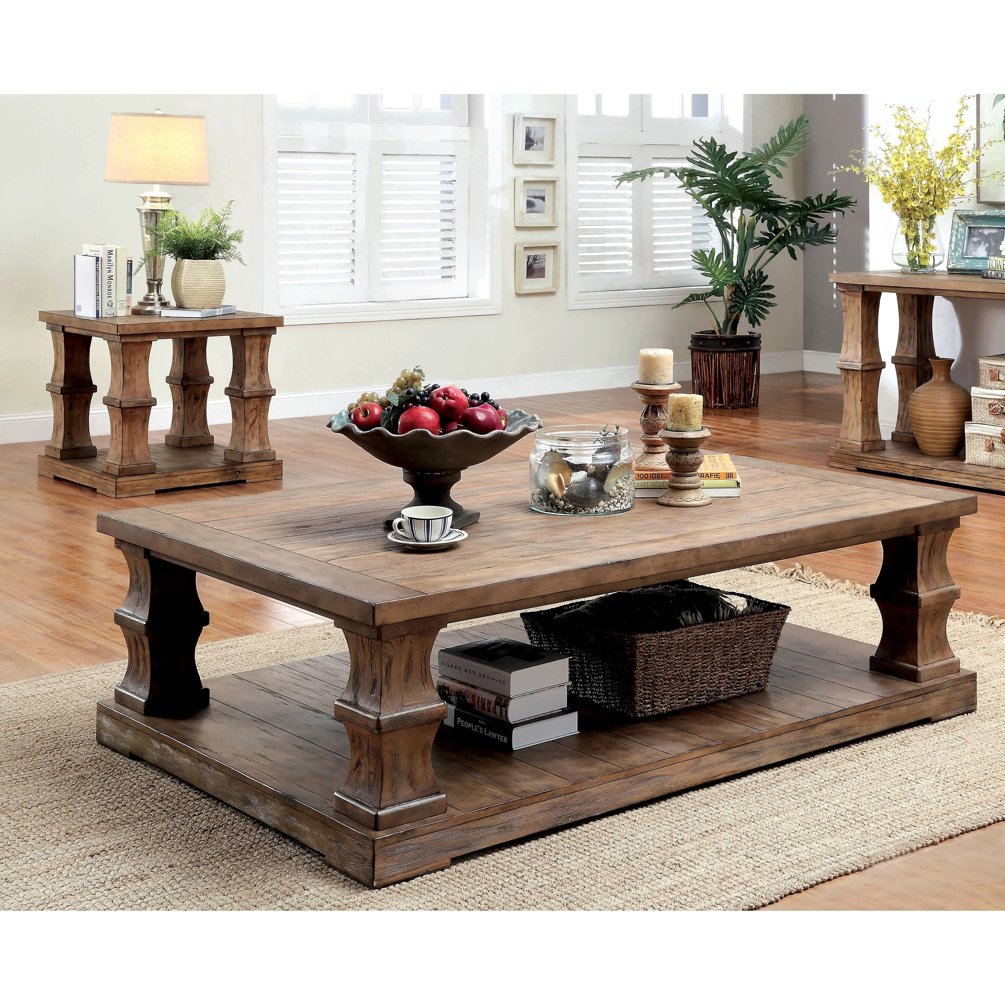 Furniture Of America Lass Rustic Brown 2 Piece Accent Table Set