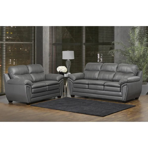 Gray Leather Sofa And Loveseat