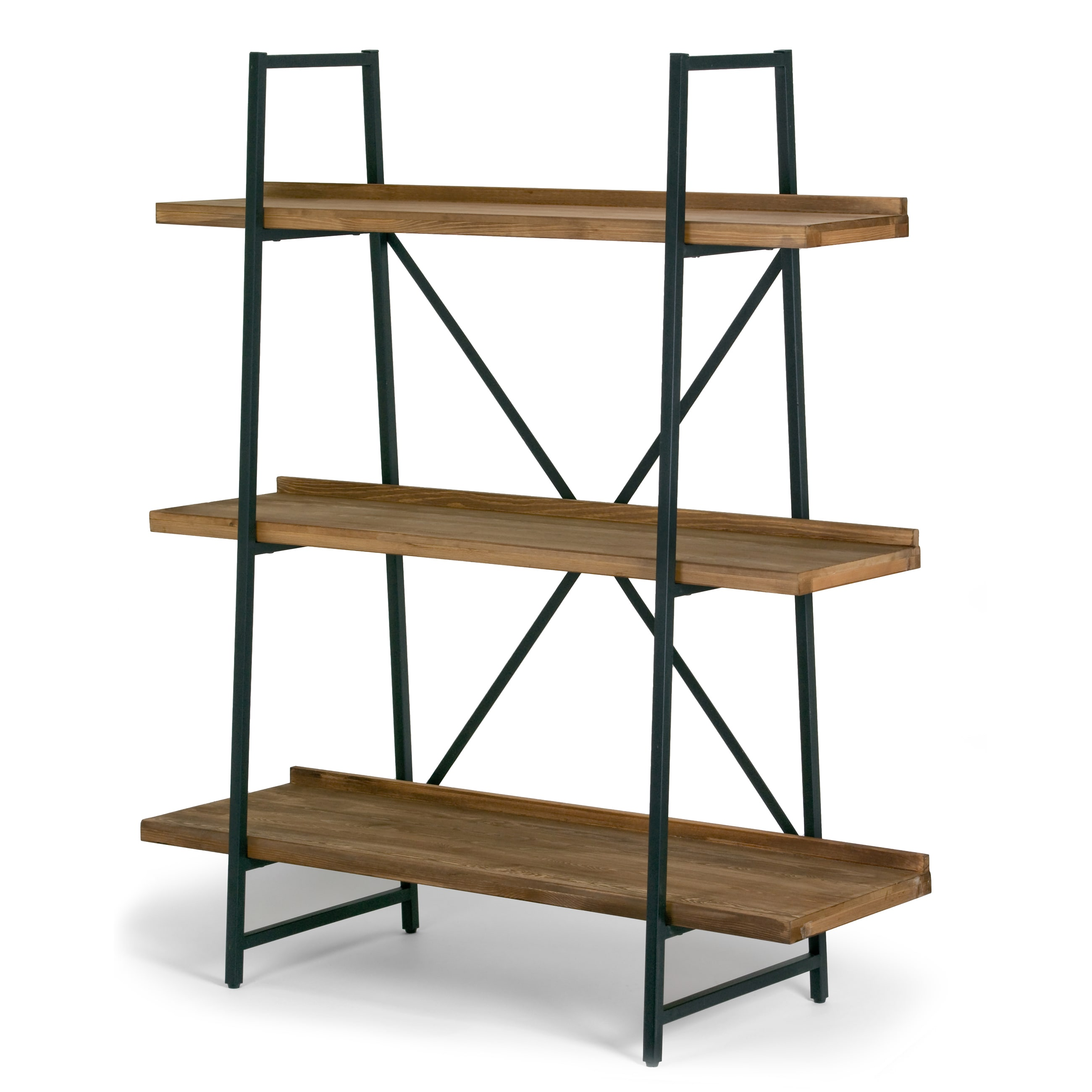 Ailis Brown Pine Wood Metal Frame 56 Inch Etagere Bookcase Three Shelf Media Center