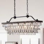 Shop Ikraam Glass And Bronze Rectangular Pendant Light Fixture 30 In On Sale Overstock 13471028