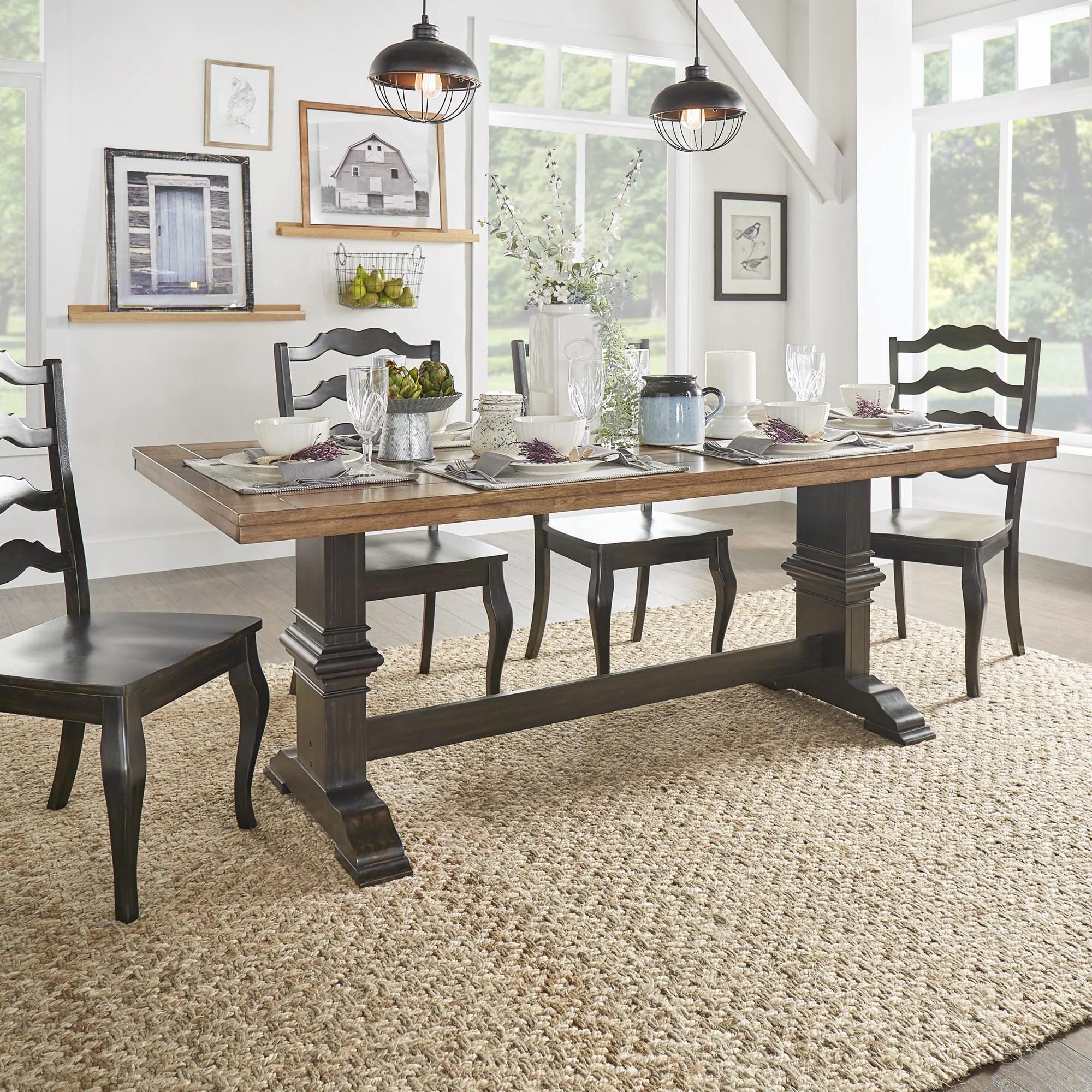 eleanor two tone rectangular solid wood top dining table on solid wood dining table id=88420