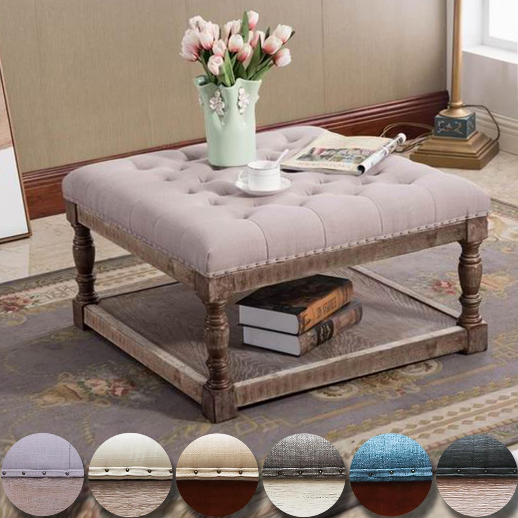 cairona fabric 30 inch tufted shelved ottoman optional colors