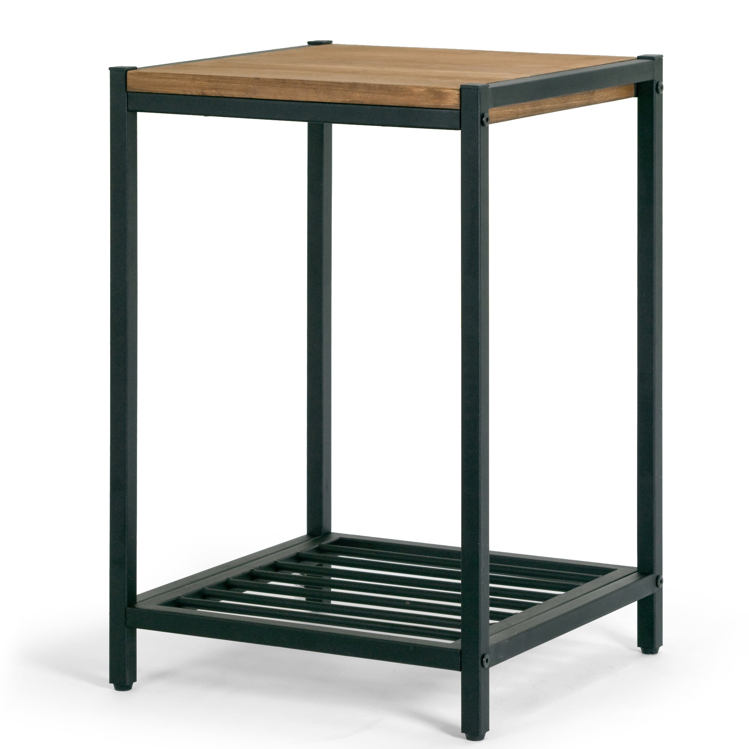 Ailis Brown Pine Wood Black Metal Frame Accent End Table Overstock 13689079