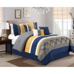 Cory Navy And Yellow 7 Piece Comforter Set Overstock 13741526