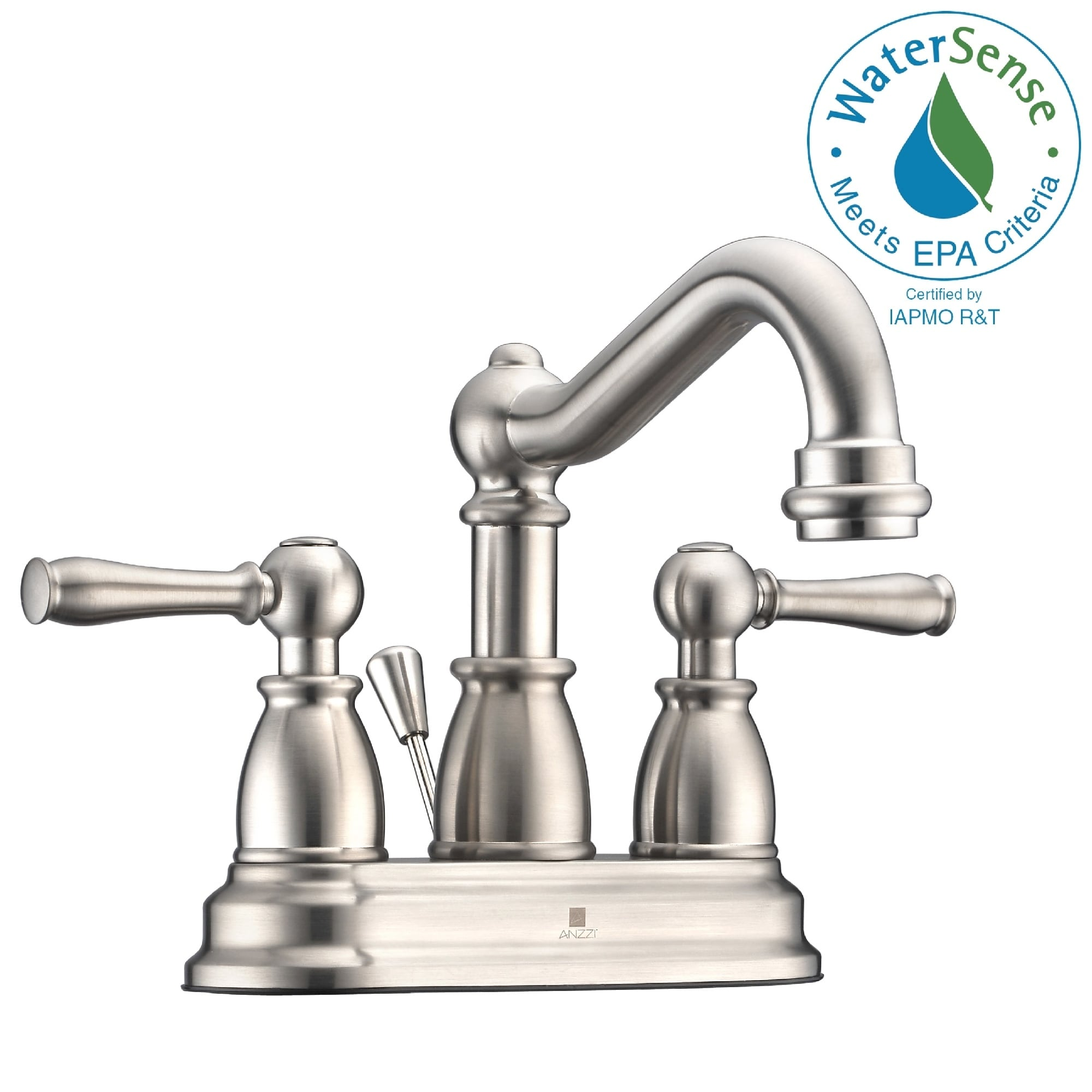 anzzi edge 4 inch centerset 2 handle mid arc bathroom faucet in brushed nickel