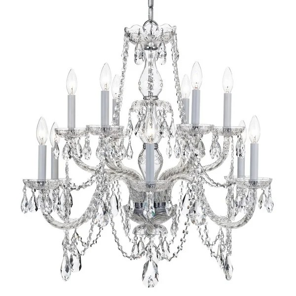 Crystorama Traditional Crystal Collection 12 Light Polished Chrome Swarovski Strass Chandelier