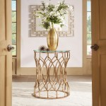 Davlin Modern Glam Round Glass Top Metal Foyer Table By Inspire Q Bold Overstock 13929905