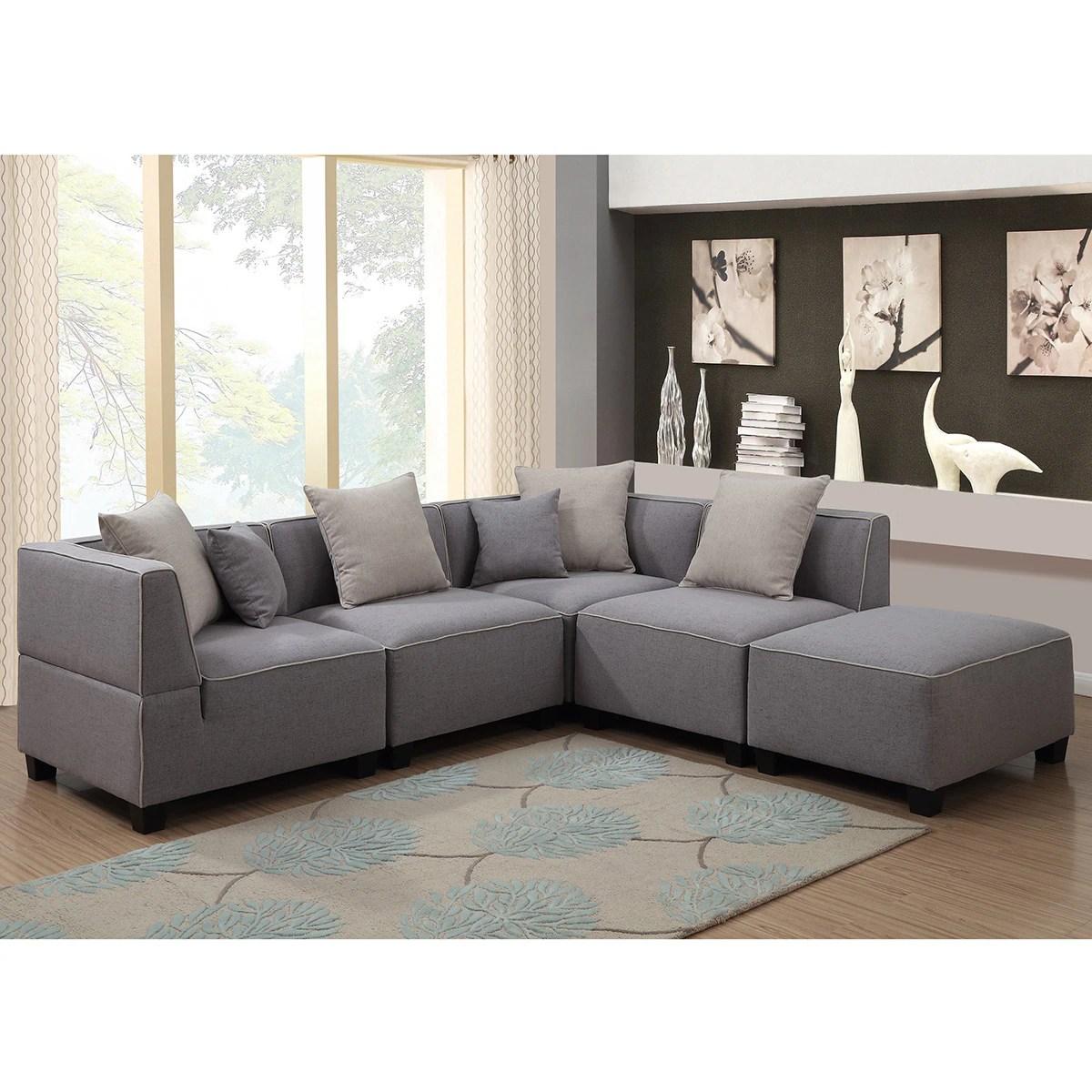 holly modern 5 piece modular grey linen l shaped sectional