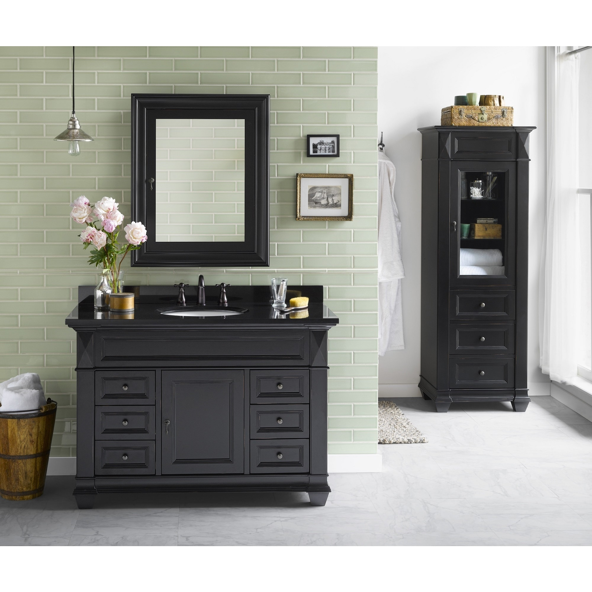 Ronbow Torino 48 Inch Bathroom Vanity Set In Antique Black Medicine Cabinet Curio Cabinet Granite Top With White Oval Sink Overstock 13984162