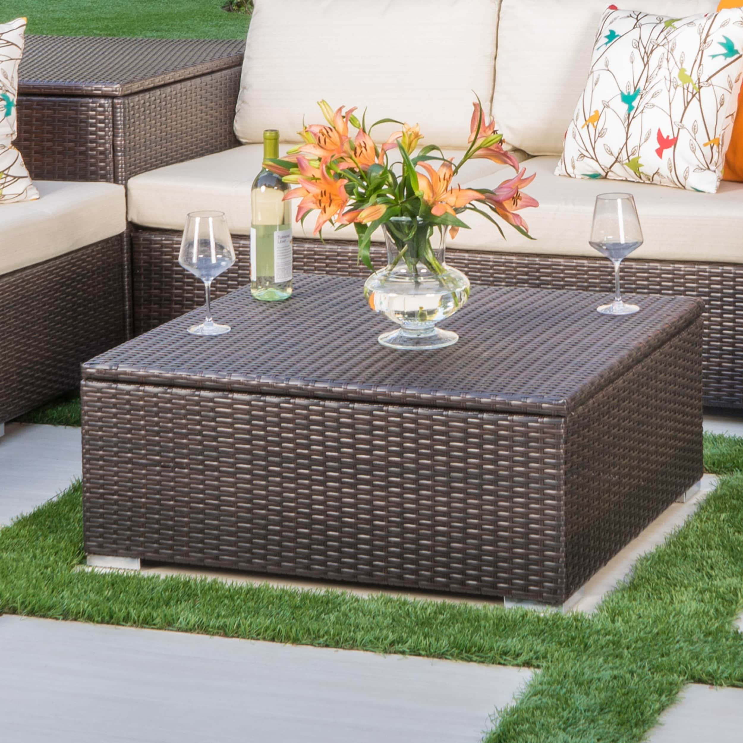 santa rosa outdoor wicker storage coffee table by christopher knight home