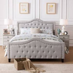 Cream Bedroom Furniture   Find Great Furniture Deals Shopping at     Virgil Upholstered Tufted Fabric Queen size Bed Set by Christopher Knight  Home