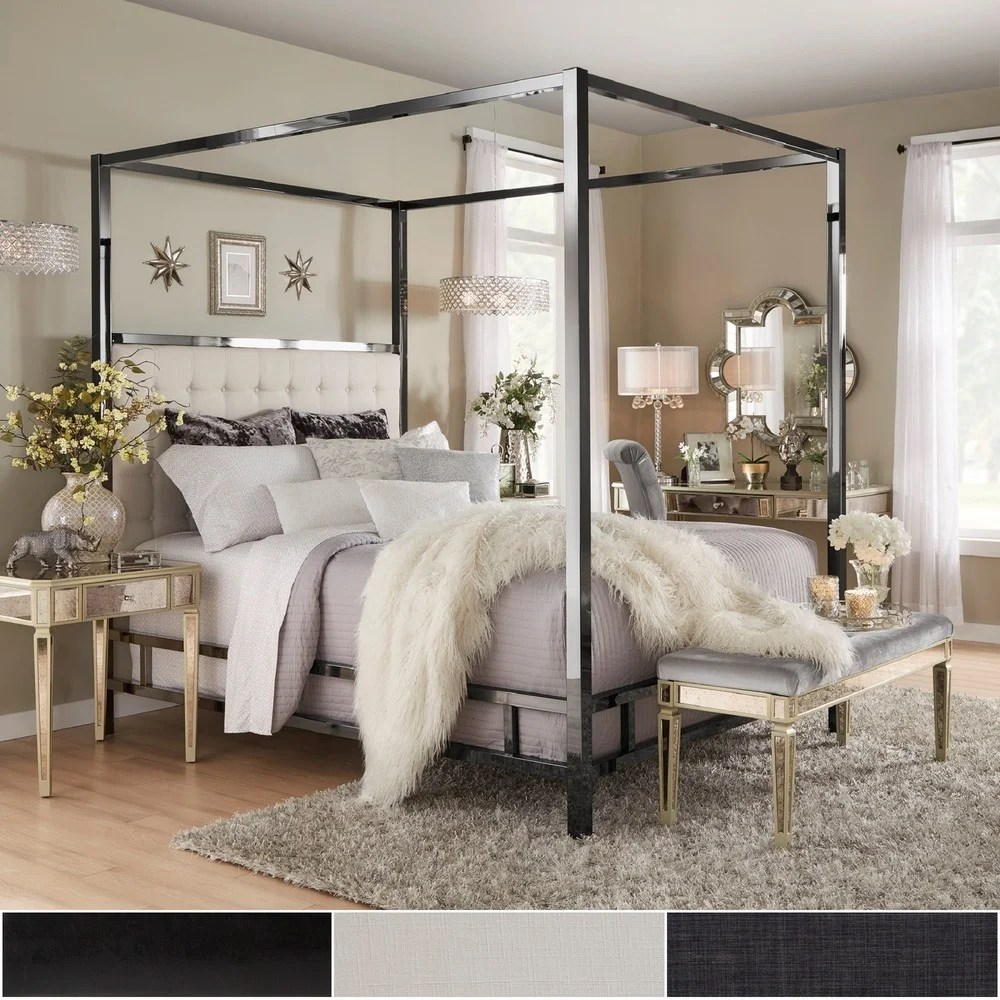 solivita black nickel metal queen canopy poster bed by inspire q bold