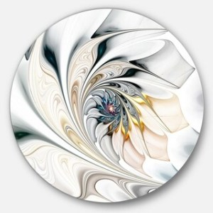 Metal Art   Shop our Best Art Gallery Deals Online at Overstock com Designart  White Stained Glass Floral Art  Floral Circle Metal Wall Art