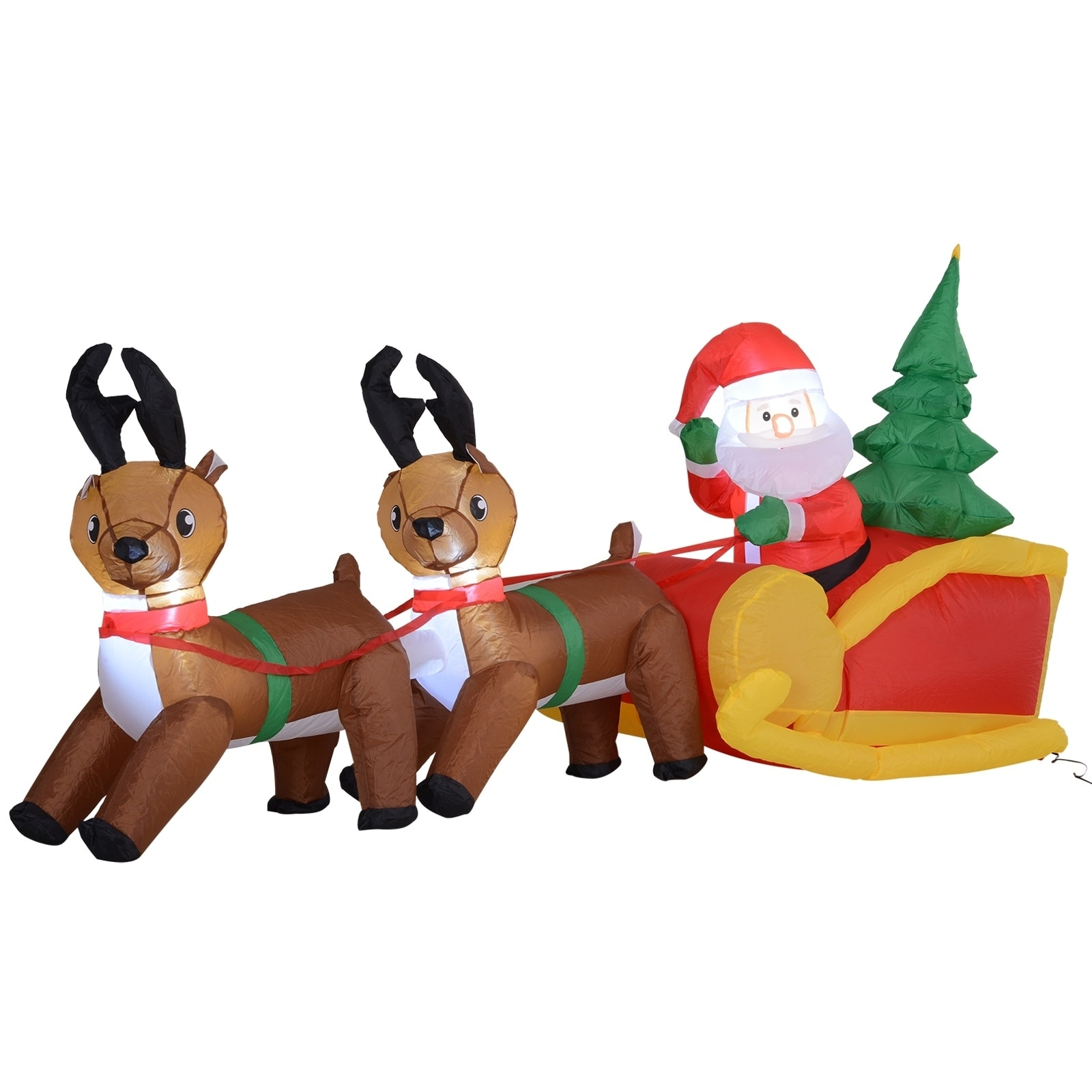 Shop 7 Long Outdoor Lighted Airblown Inflatable Christmas Lawn Decoration Santa S Sleigh Reindeer Overstock 14256269
