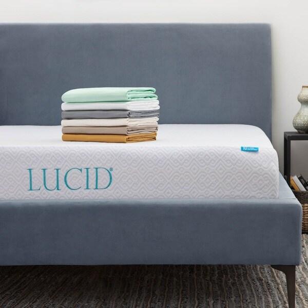 Lucid 10 Inch Full Xl Size Gel Memory Foam Mattress With Tencel Sheet Set