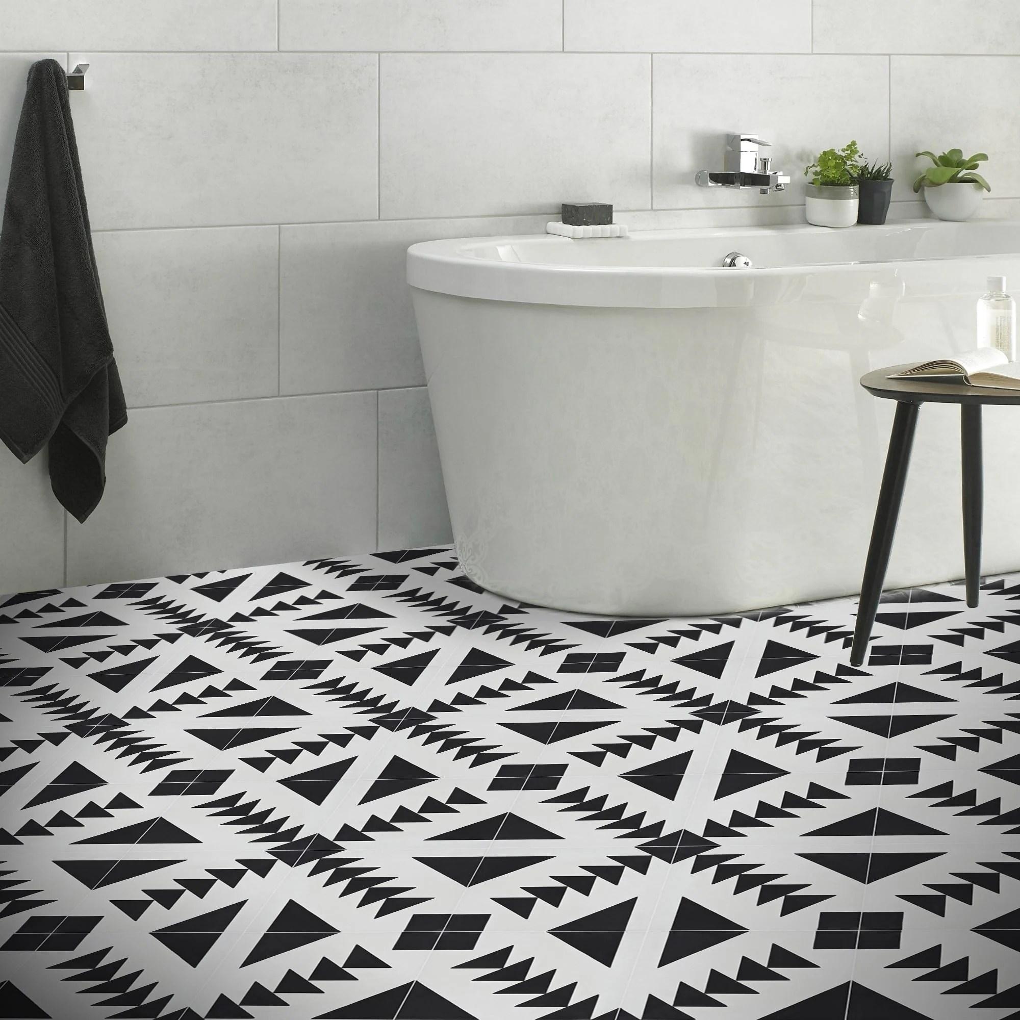 handmade tadla in black and white tile pack of 12 morocco