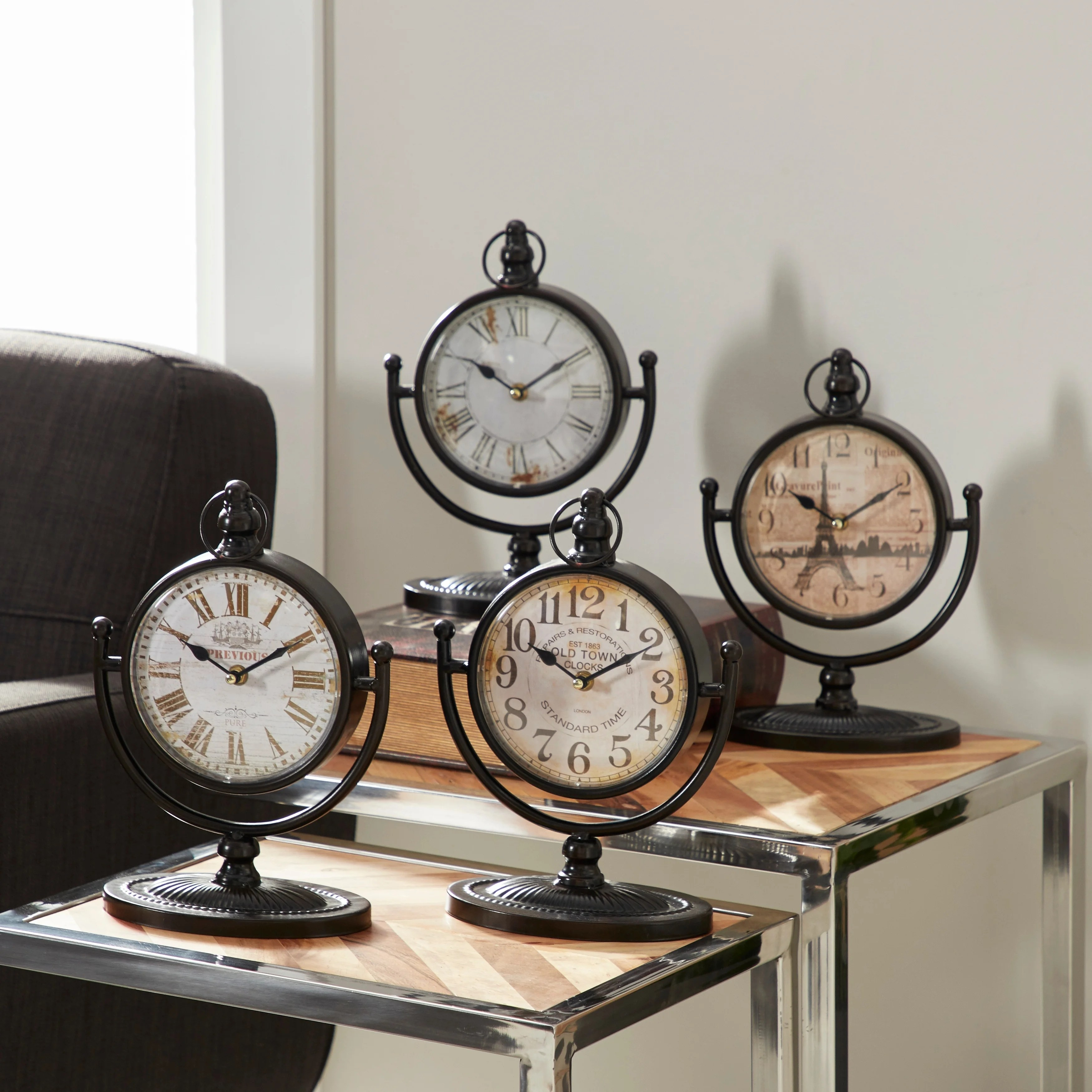 textured iron and glass desk clock pack of 4