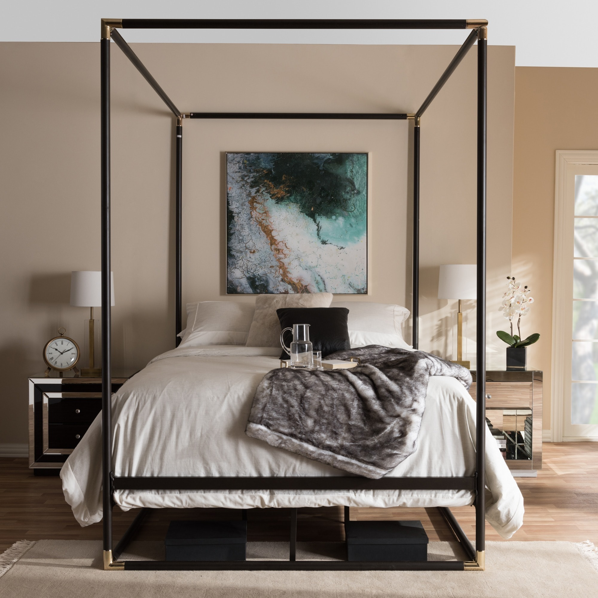 industrial black canopy bed by baxton studio size queen