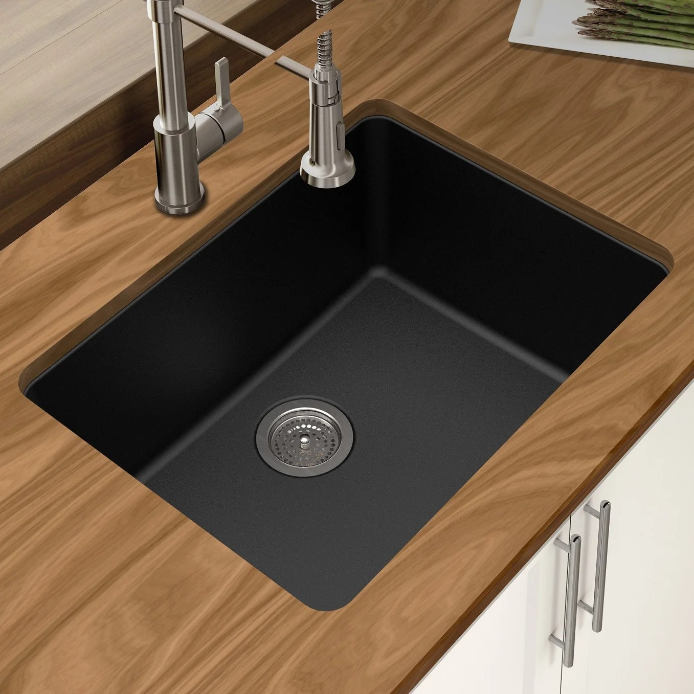 winpro black granite quartz 25 x 18 1 2 x 9 1 2 single bowl undermount sink