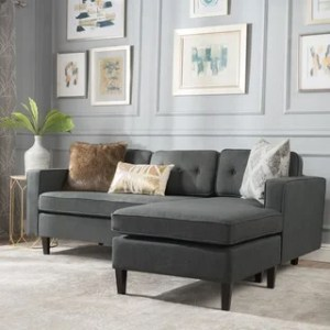 Buy L Shape Sectional Sofas Online at Overstock com   Our Best     Wilder Mid Century Modern 2 piece Fabric Chaise Sectional Sofa by  Christopher Knight Home