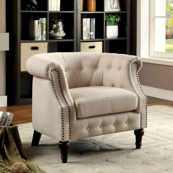 Ivory Tufted Accent Chair
