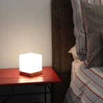 Light Accents Small Table Lamp Cube Accent Lamp Glass Shade With Natural Wooden Base Overstock 14745536