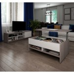 Bestar Small Space 2 Piece Lift Top Storage Coffee Table And Tv Stand Set Overstock 15209963 Bark Grey White