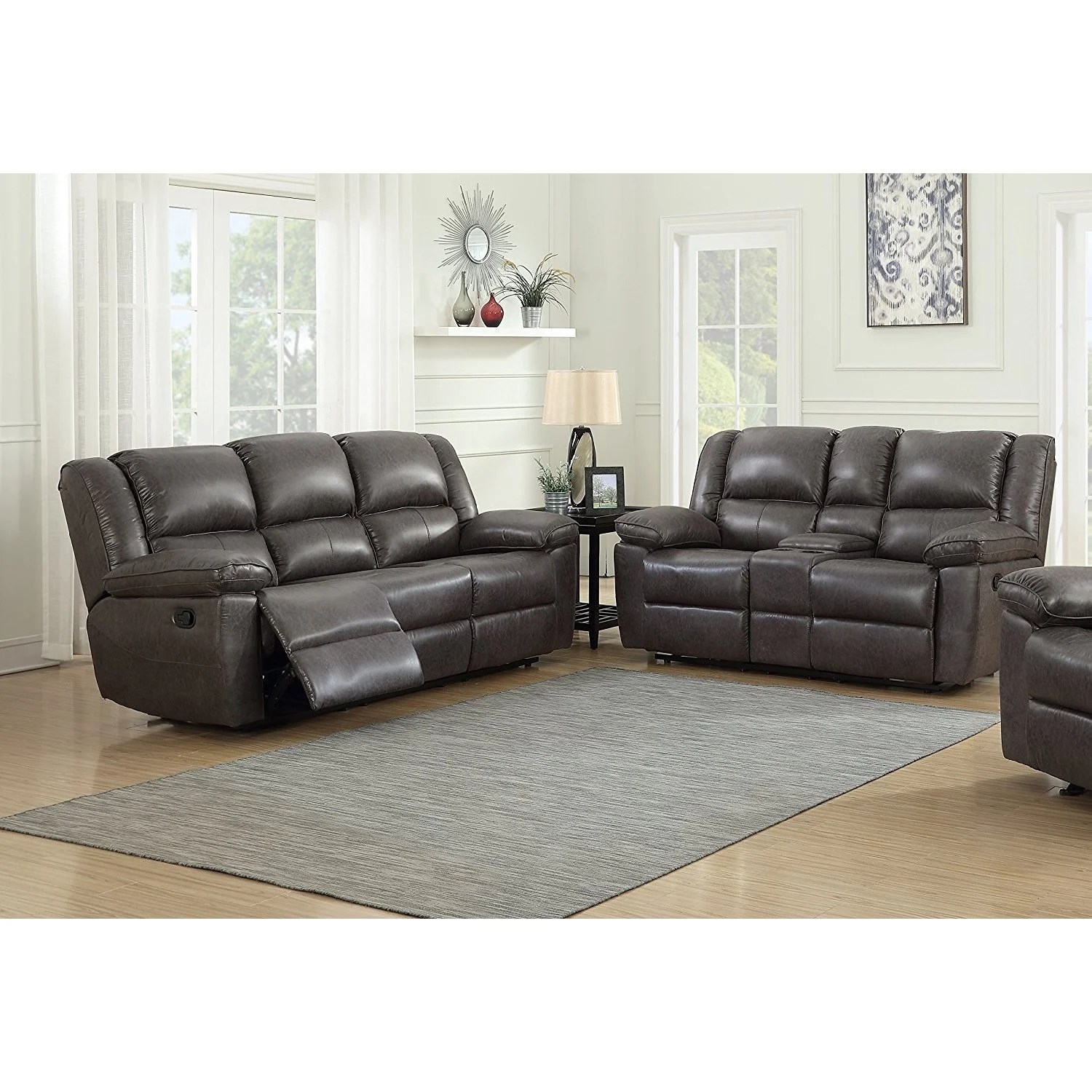 Us Pride Furniture Oregon Brown Hot Stamping Cloth Fabric 2 Piece Recliner Sofa And Console Loveseat Set