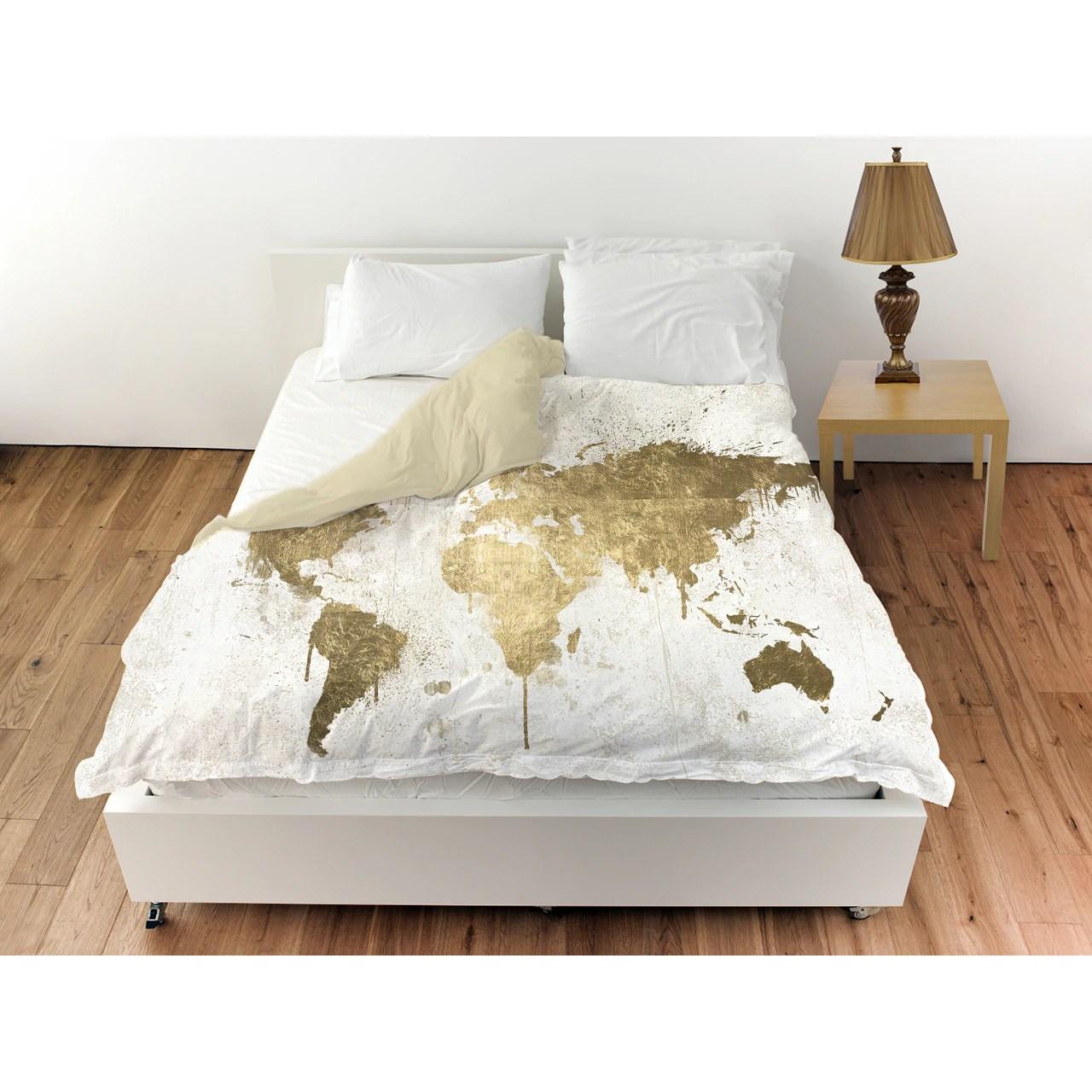 oliver gal mapamundi white gold duvet cover