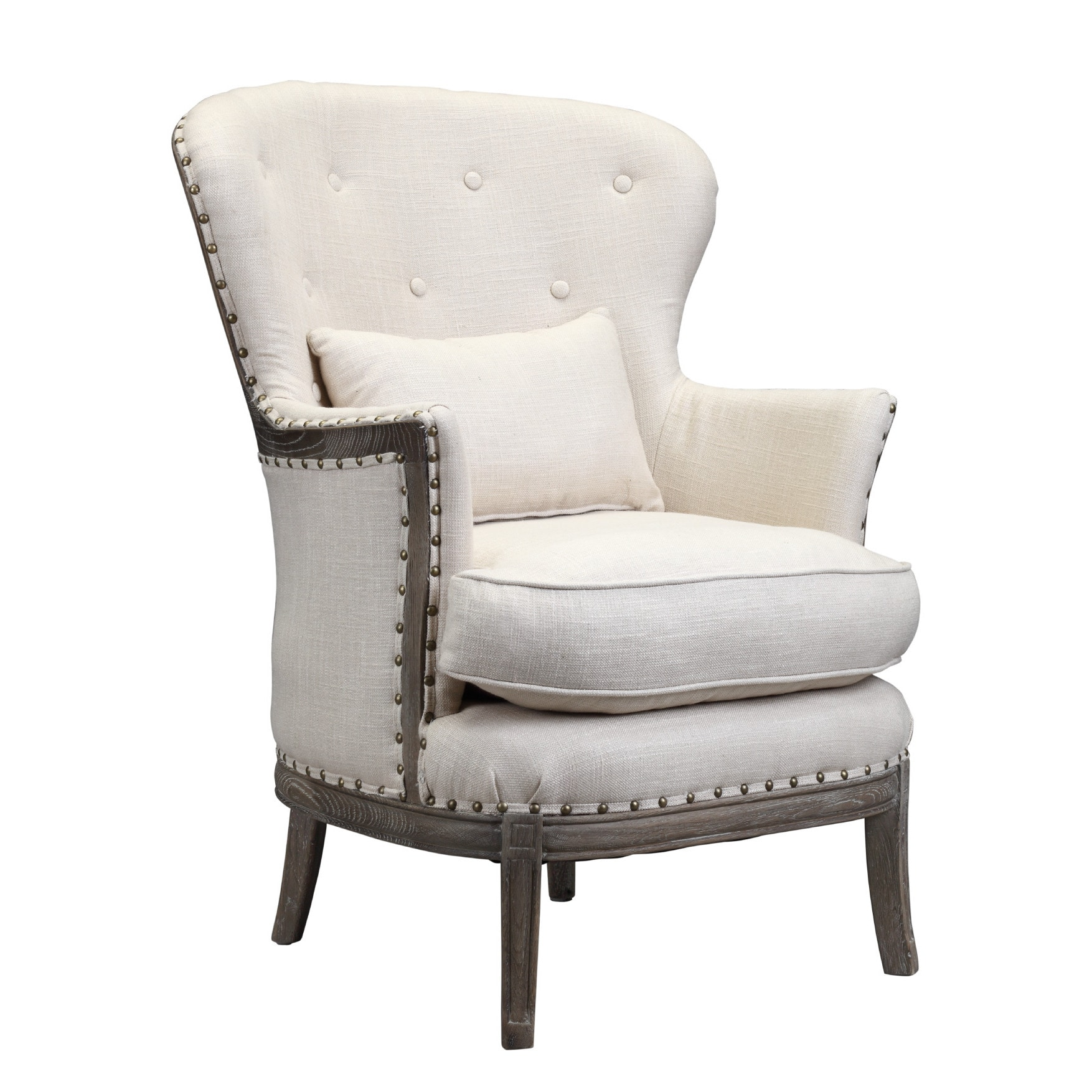 burnham home designs shay collection brown wood and white linen upholstered armchair