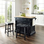 Oxford Butcher Block Top Kitchen Island In Black Finish With 24 Black Upholstered Saddle Stools