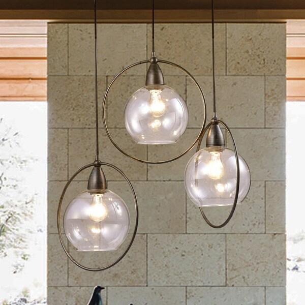 Luna Antique Black 3 Light Clear Glass Globe Iron Loop Pendant Chandelier
