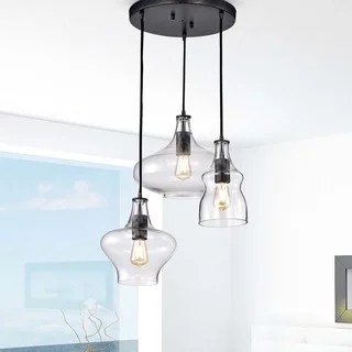 Tasia Antique Black Mouth N Clear Glass Cer Pendant Chandelier