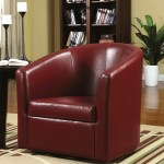 Living Room Barrel Style Red Upholstered Swivel Accent Chair