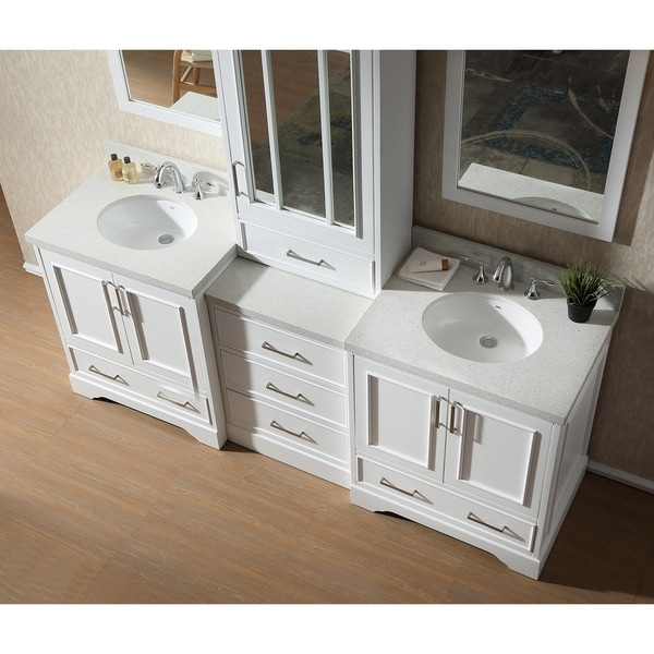 stafford white wood 85 inch double sink