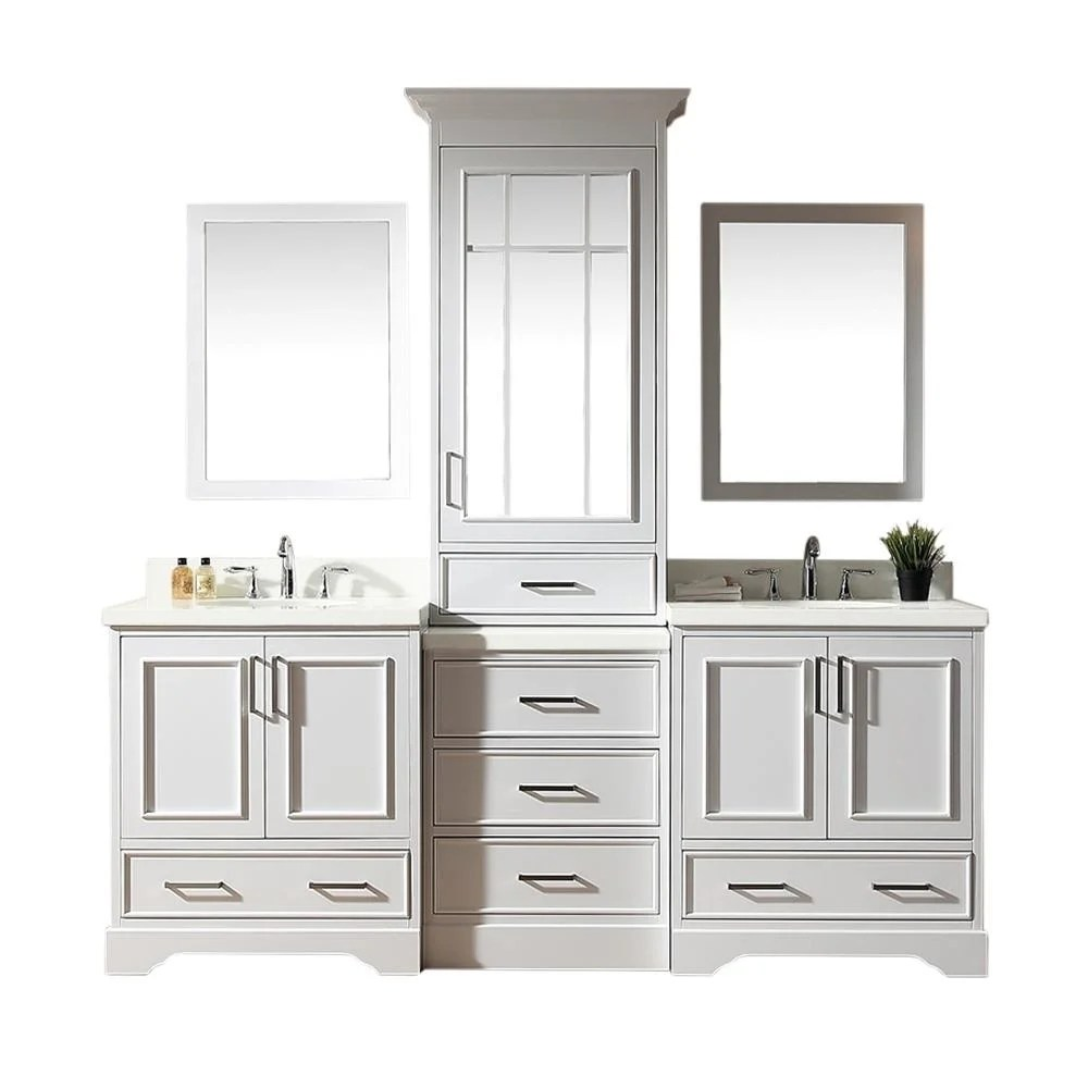 stafford white wood 85 inch double sink vanity set with center medicine cabinet