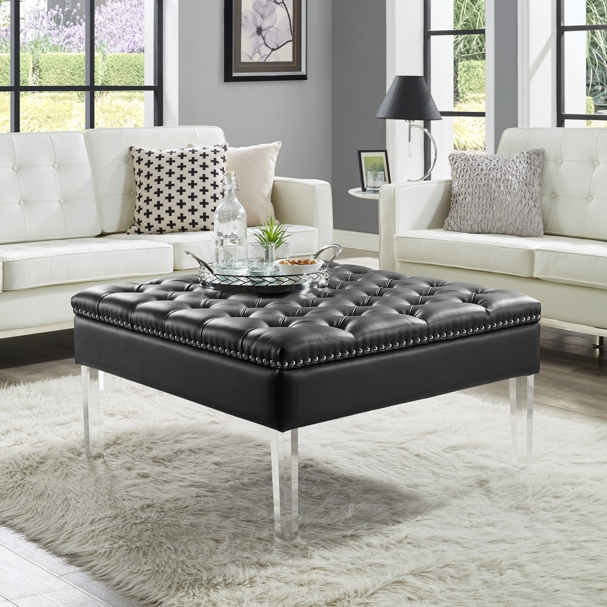 vivian leather oversized button tufted ottoman coffee table