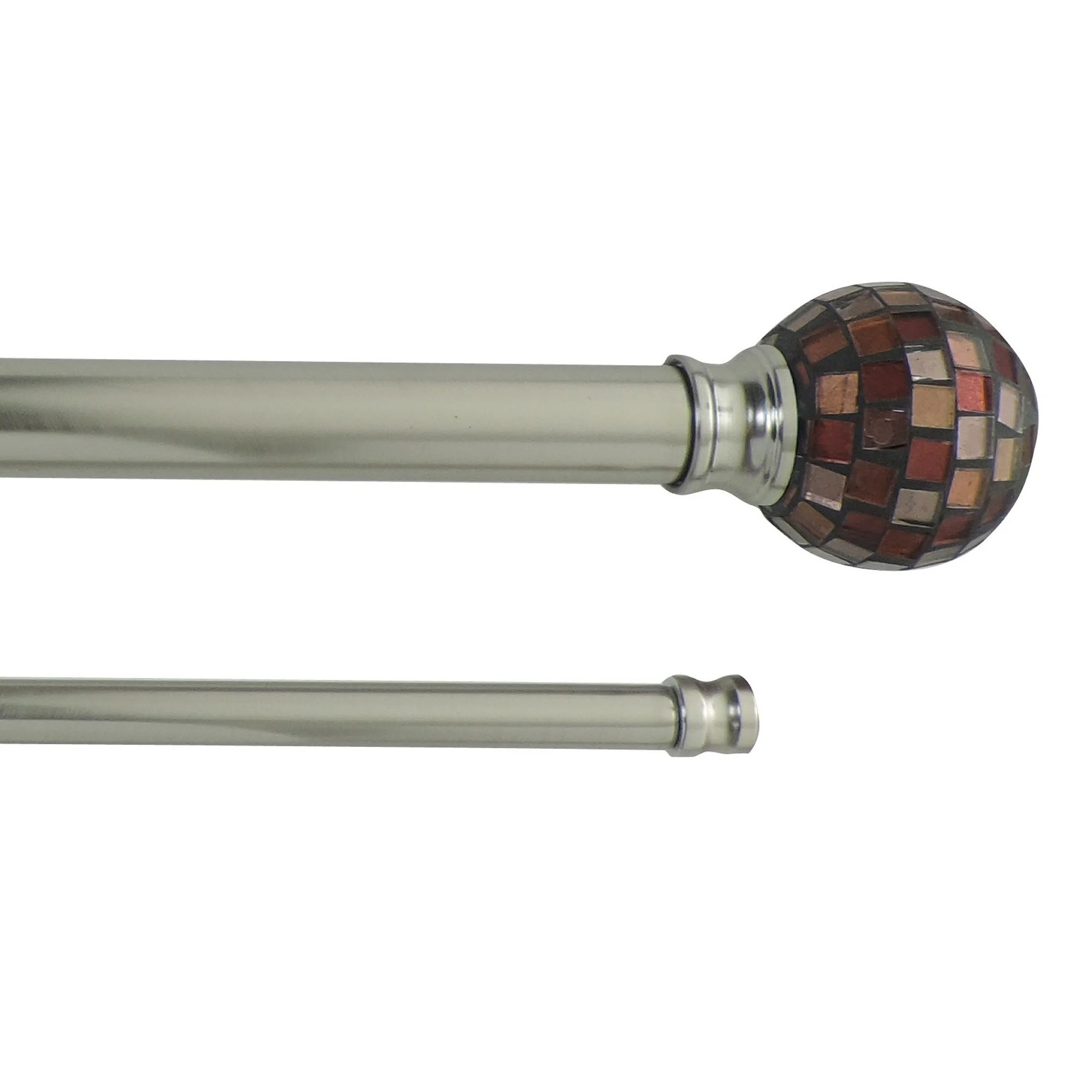 mosaic adjustable double curtain rod with round finials