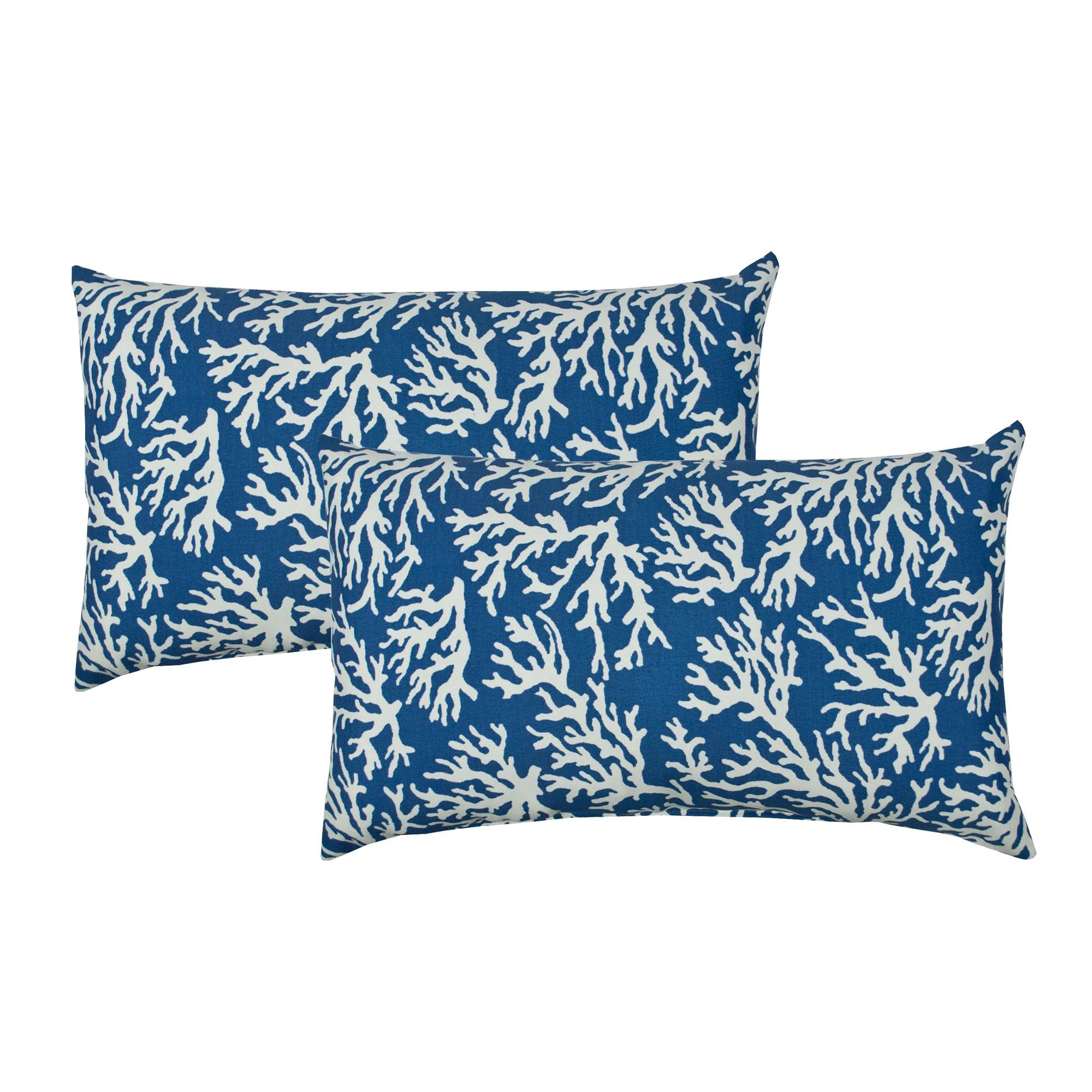 sherry kline coral reef blue indoor outdoor boudoir pillow set of 2