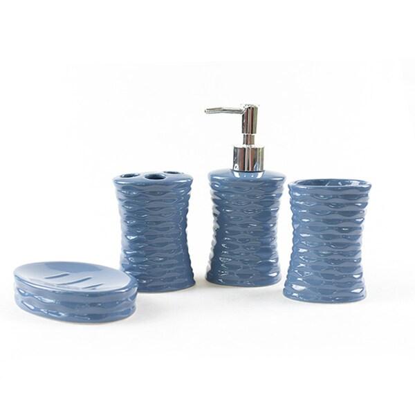 Shop 4 Piece Ceramic Modern Bathroom Accessory Set ...