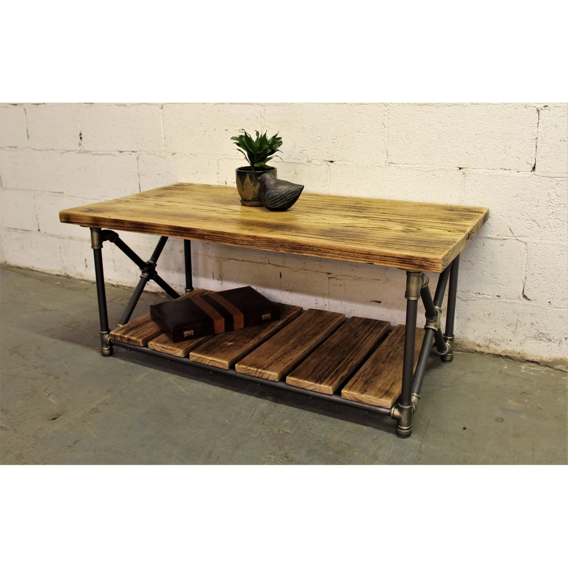 houston industrial vintage metal and reclaimed aged wood finish rectangle pipe coffee table