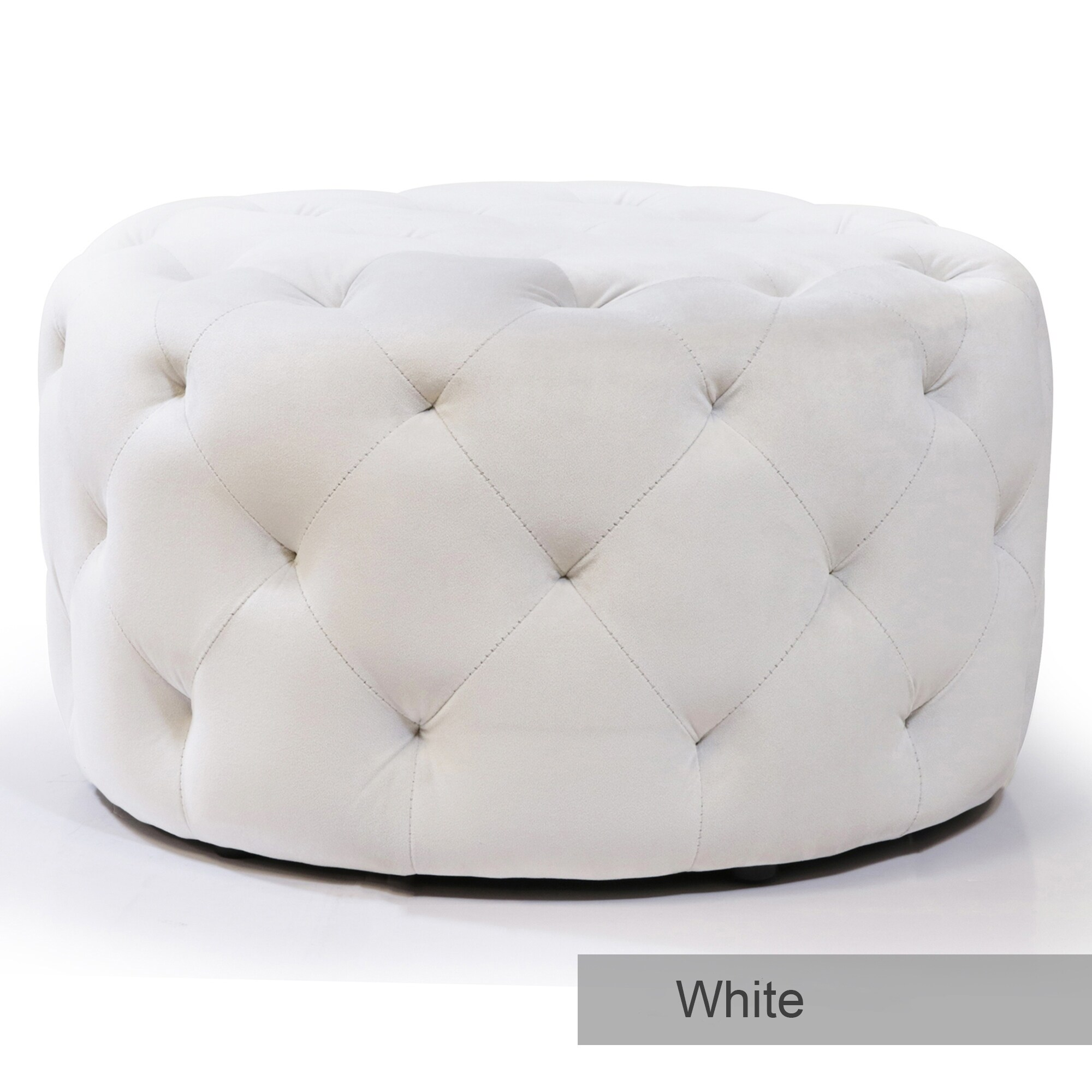 warehouse of tiffany meerna 24 inch round tufted padded ottoman optional colors