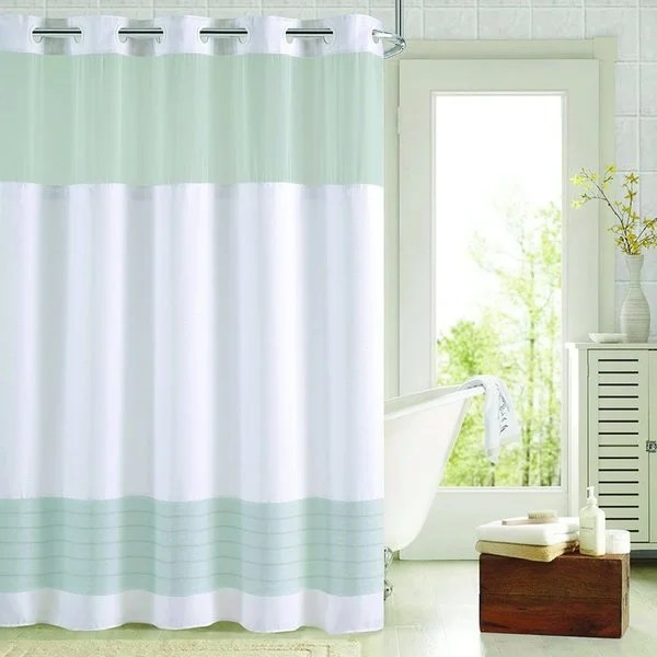 Shop Hookless Colorblock Shower Curtain With Snap On Liner Free Shipping Today
