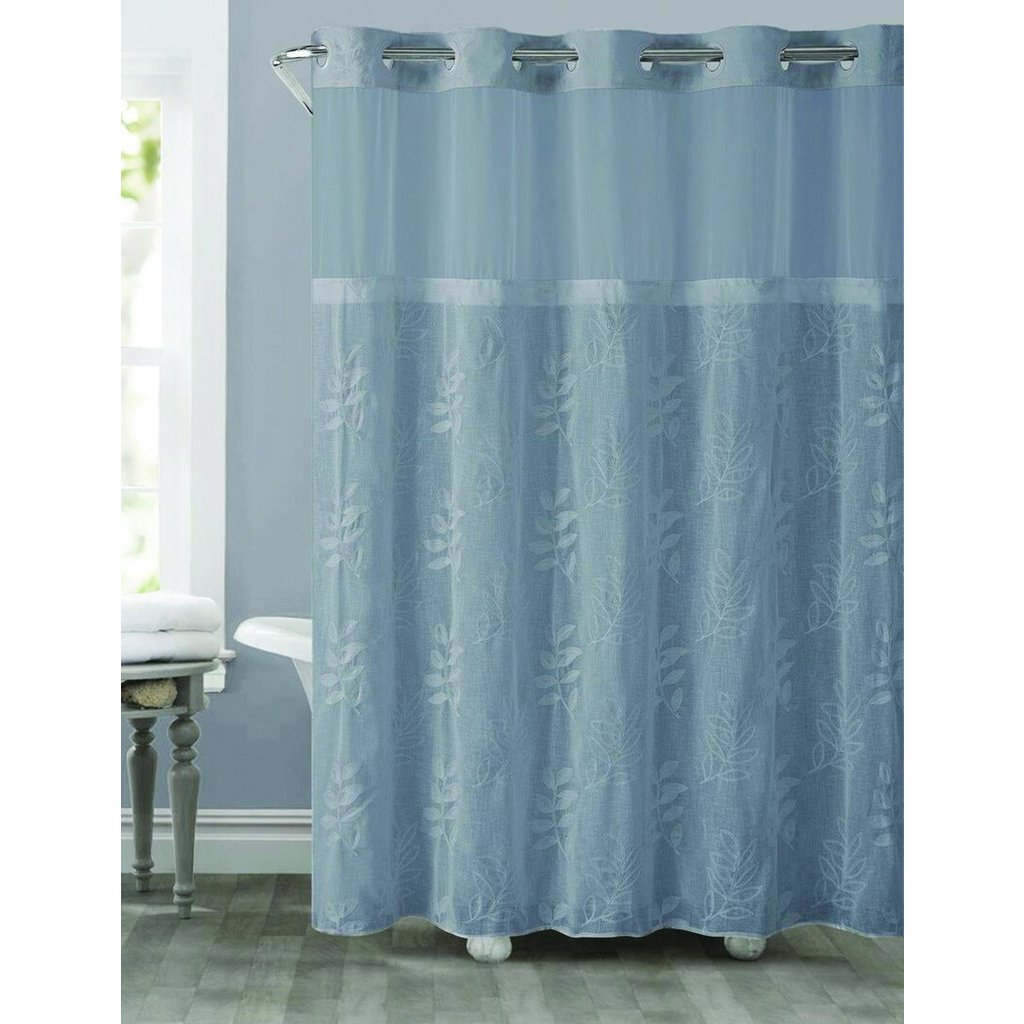 hookless palm leaves shower curtain with snap on liner