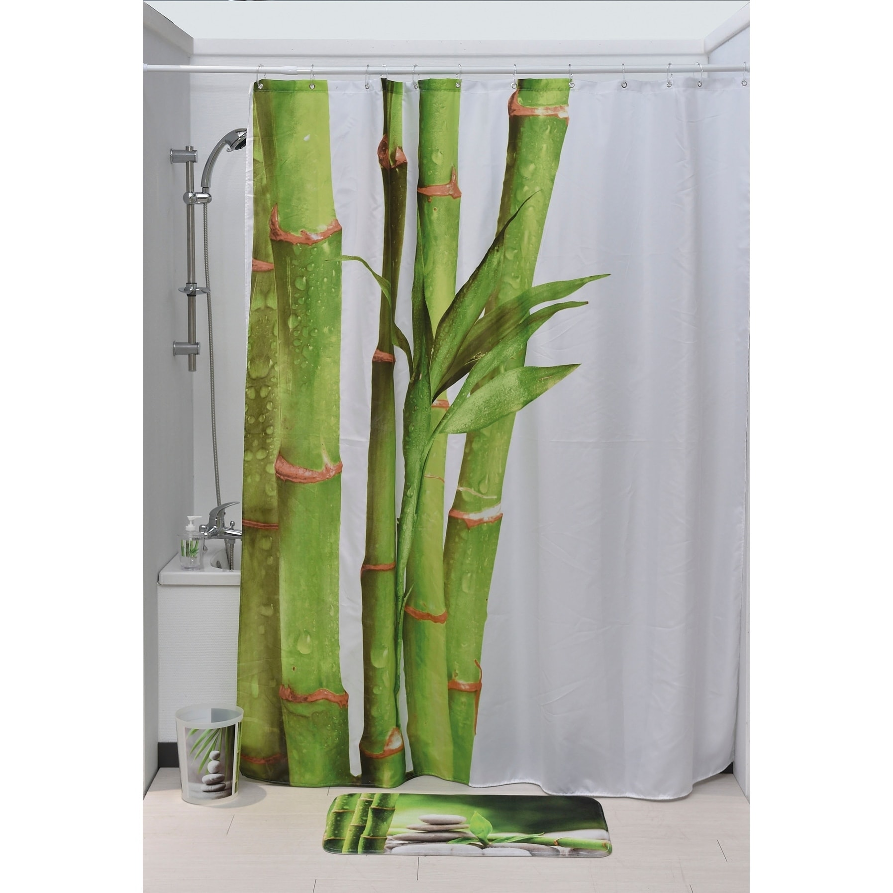 Evideco Printed Fabric Shower Curtain Zen And Co Polyester Green White