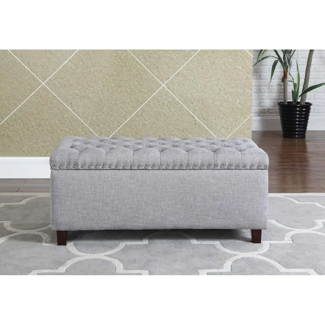 button tufted storage ottoman bench with nailhead gray color