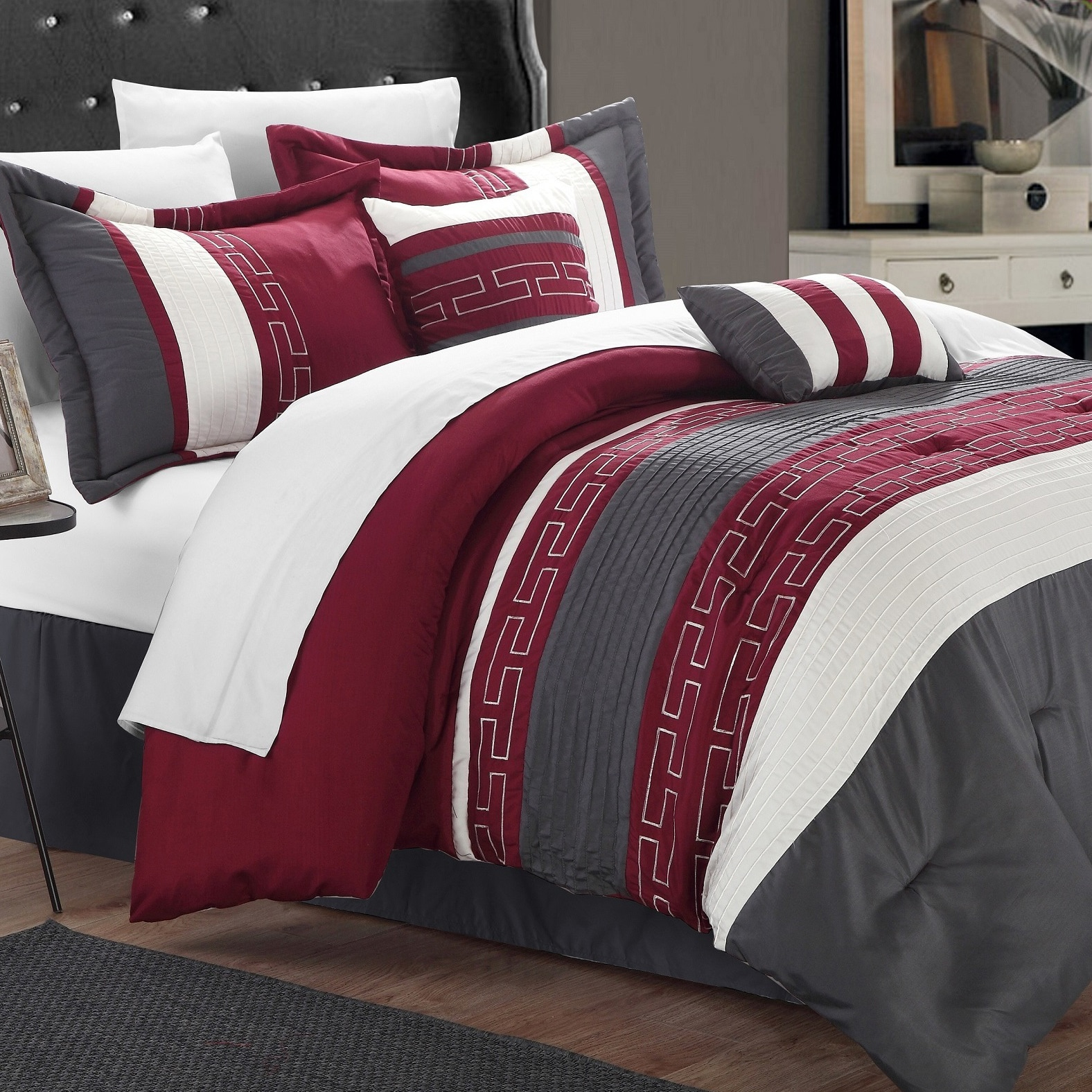 chic home caleb hotel collection burgundy detailed embroidery 6 piece comforter set