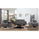 Strick Bolton Vicente Modern Style Grey Leather Gel 3 Piece Living Room Sofa Set