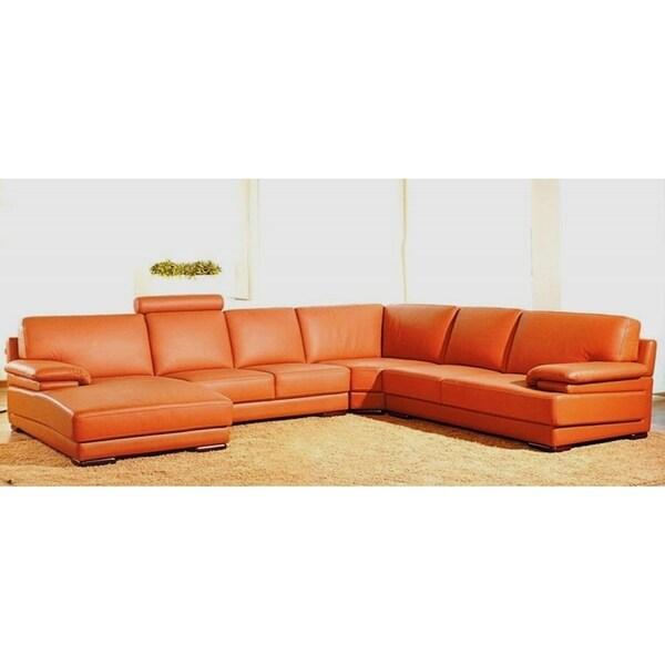 hagerty orange leather u shaped sectional sofa