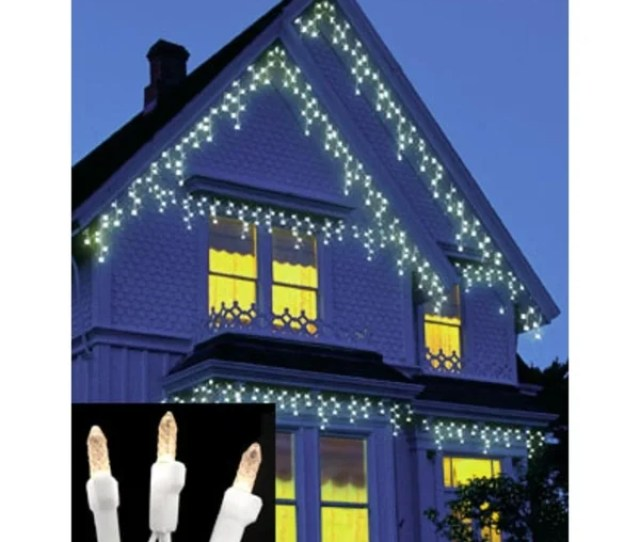 Set Of  Warm Clear Led M Icicle Christmas Lights White Wire
